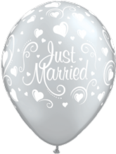 Just Married Silver Hearts (6pc) - 11 Inch Wedding Balloons